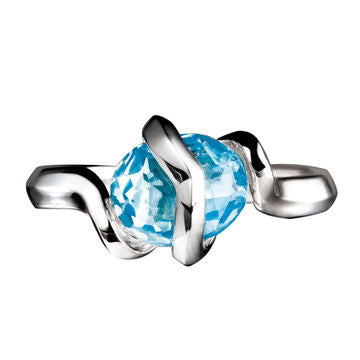 Links of London Sterling Silver Entwine Ring Blue Topaz Ring - 5045.3849