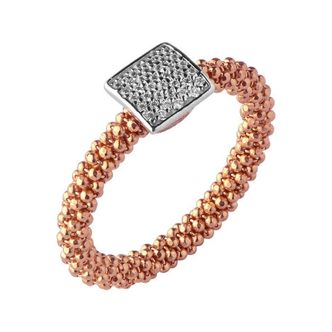 Links of London Star Dust Rose Gold Square Ring - 5045.5238