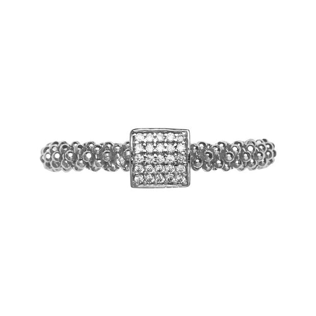 Links of London Star Dust Silver Small Square Ring - 5045.5252