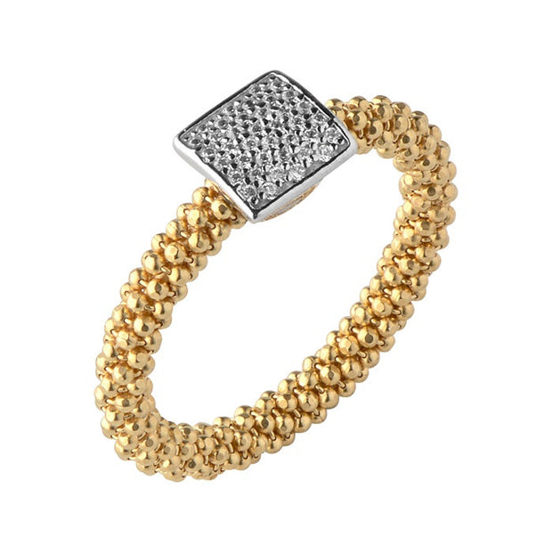 Links of London Star Dust Yellow Gold Small Square Ring - 5045.5256