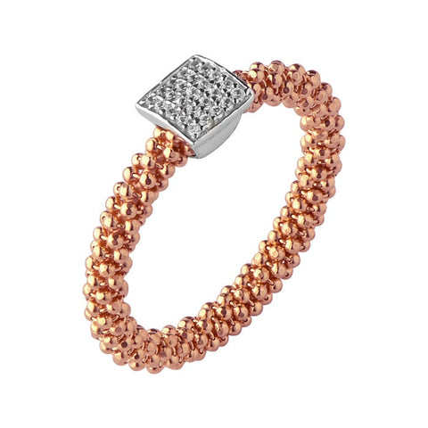 Links of London Star Dust Rose Gold Small Square Ring - 5045.5259