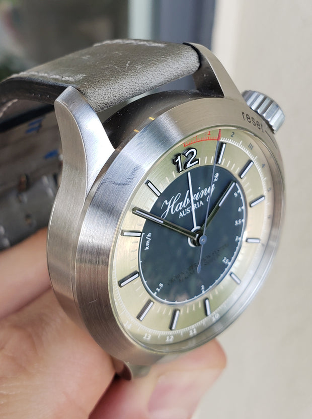 Estate SS Habring2 ChronotempVs III automatic COS chronograph on strap. B&P