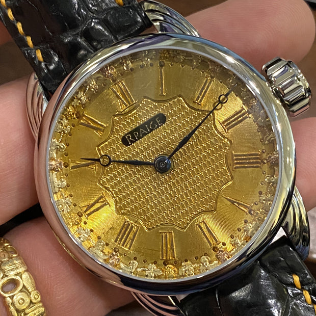 RPaige Wrocket Waltham Royal C.1923 guilloche 18K gold dial watch