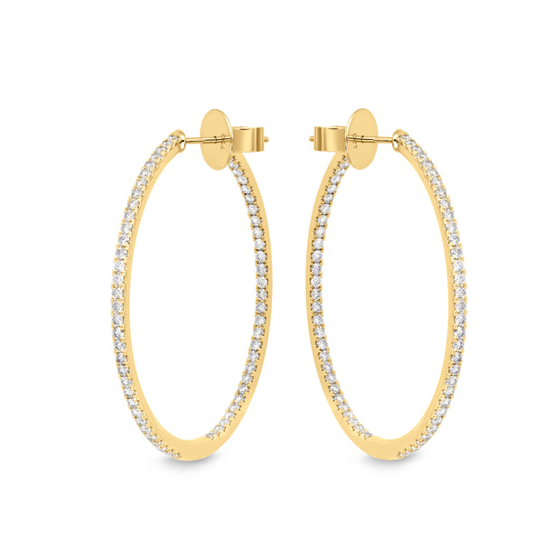Passion Collection Classics Diamond Yellow Gold Diamond Hoop Earrings