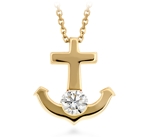 Hearts On Fire Charmed Anchor Pendant Necklace