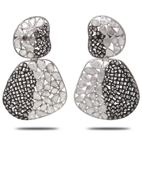 18K White Gold and Sliced Diamond Earrings