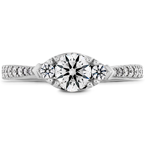 Hearts On Fire Destiny Horizontal Regal Engagement Ring with Diamond Band