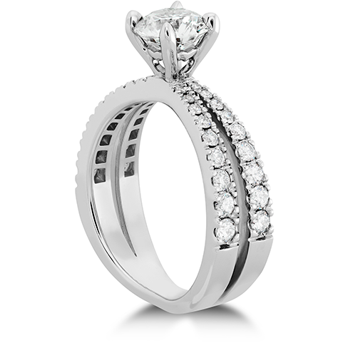 Hearts On Fire Destiny Split Shank Engagement Ring with Diamond Band