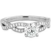 Hearts On Fire Destiny Twist Engagement Ring with Diamond Band