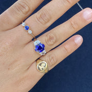 Passion Collection Unheated Blue Sapphire & Half Moon Diamond Ring