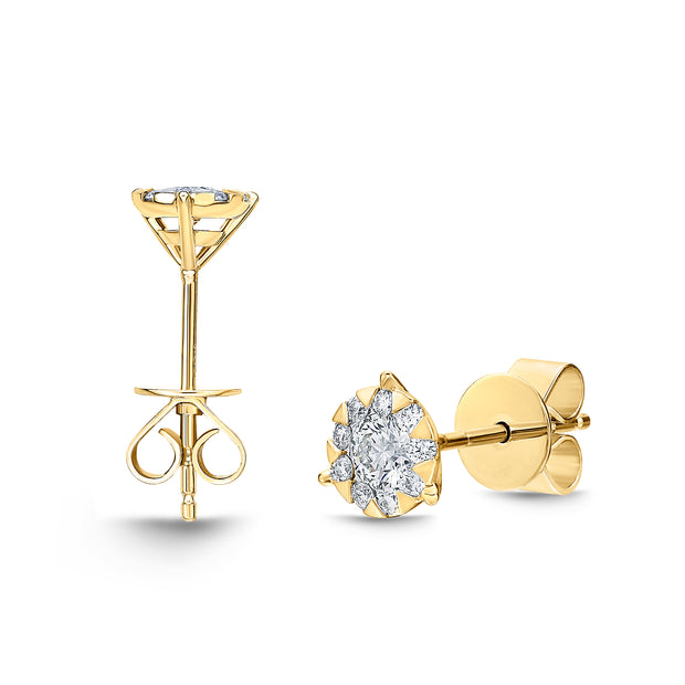 Passion Collection Diamond Bouquets Stud Yellow Gold Earrings