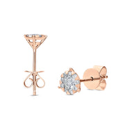 Passion Collection Diamond Bouquets Stud Rose Gold Earrings