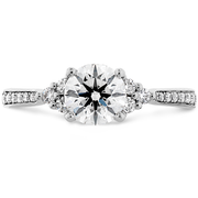 Hearts On Fire Felicity Queen Anne Engagement Ring with Diamond Band