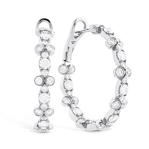 Hearts On Fire Double Bezel Regal Double Hoops