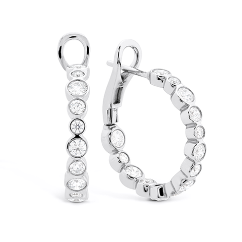 Hearts On Fire Large Bezel Diamond Hoops