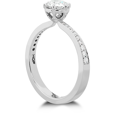 Hearts On Fire Signature 6 Prong Engagement Ring with Diamond Band