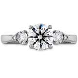 Hearts On Fire Signature Three Stone Diamond Engagement Ring