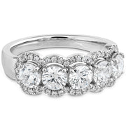 Hearts On Fire 5 Stone Halo Diamond Ring