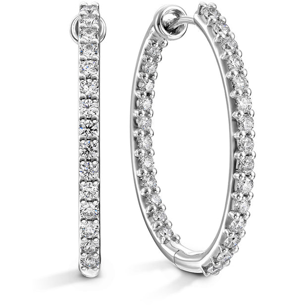 Hearts On Fire Classic Inside Out Hoop Large Oval Diamond Earrings