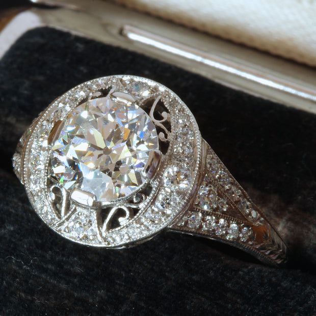 Edwardian Filigree platinum Old European cut diamond ring