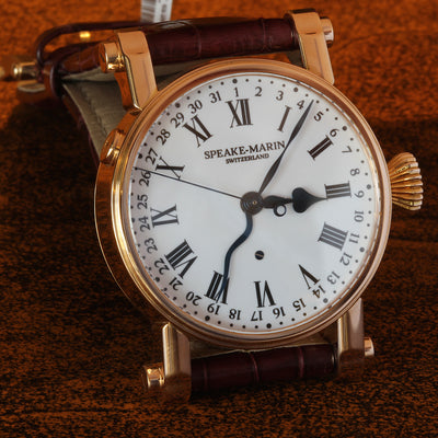 Estate very rare early 18K RG Speake-Marin Serpent Calendar enamel dial 38mm watch