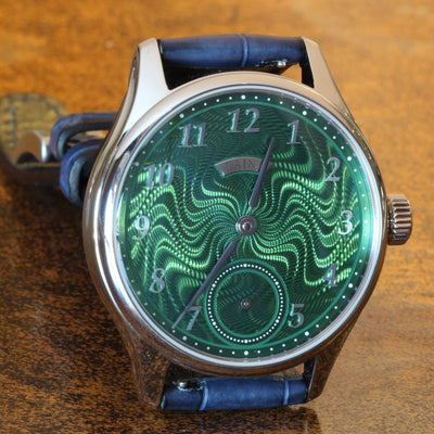 Estate SS 40.5mm Laine Gelidus Guilloche Green dial RG manual wind on strap B&P