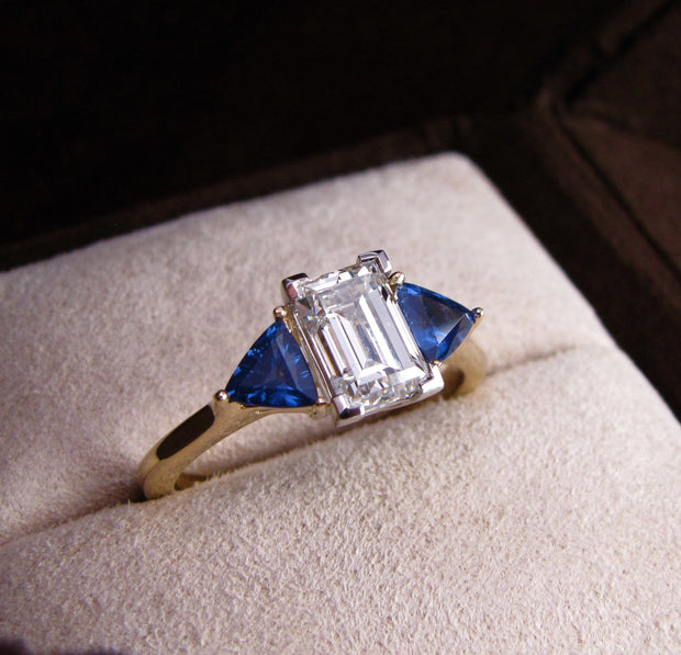 Passion Collection diamond and sapphire 3 stone ring