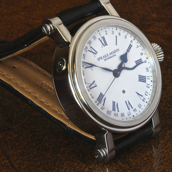 Estate very rare early Speake-Marin Serpent Calendar enamel dial 42mm watch