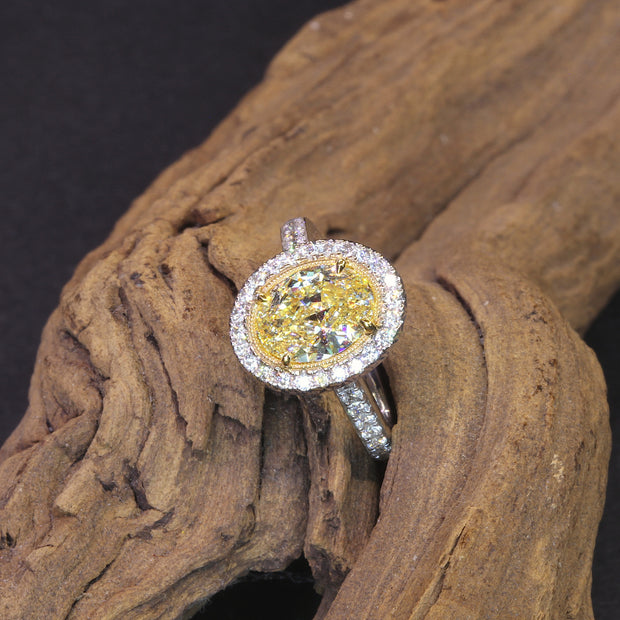 Passion Collection natural yellow OV diamond and diamond ring