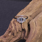 Passion Collection Emerald cut diamond 3 stone ring