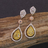 Passion Collection natural multi-colored Diamond drop earrings