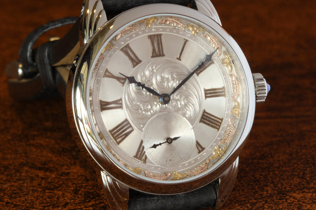 RPaige Wrocket hand engraved Silver & Gold dial watch