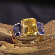 Passion Collection Yellow & Bluish Violet Sapphire 3 stone ring