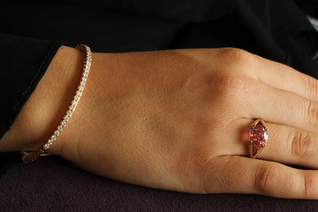 Passion Collection Peach Spinel & diamond 18K RG ring