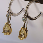 Passion Collection natural yellow & white diamond drop earrings