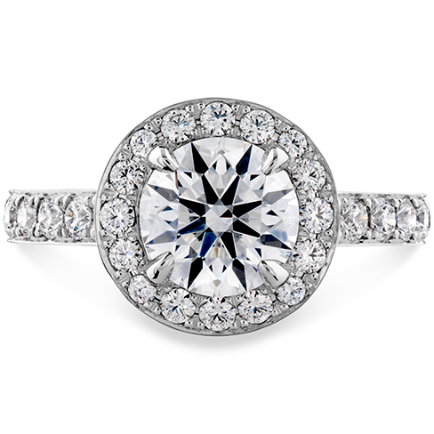 Hearts On Fire Illustrious Halo Engagement Ring with Diamond Band
