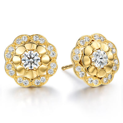 Hearts On Fire Lorelei Alternating Halo Diamond Stud Earrings