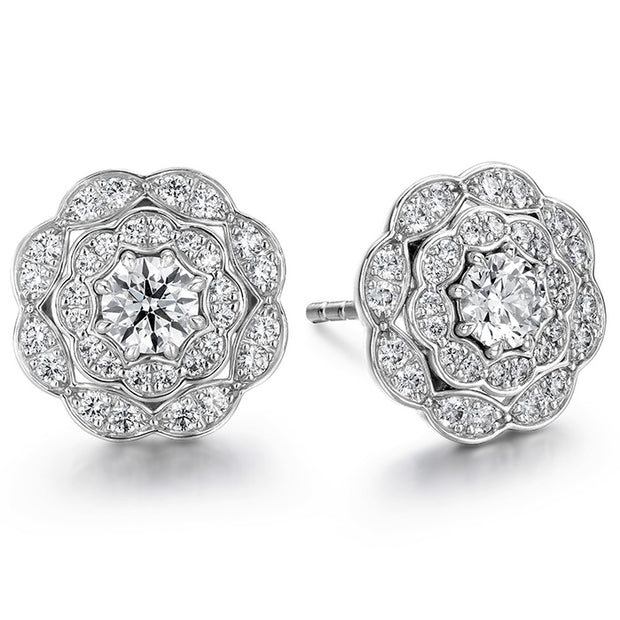Hearts On Fire Double Halo Diamond Stud Earrings