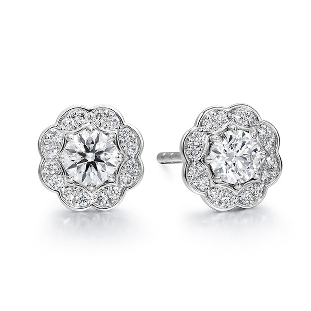 Hearts On Fire Halo Diamond Stud Earrings