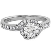 Hearts On Fire Lorelei Bloom Engagement Ring with Diamond Band
