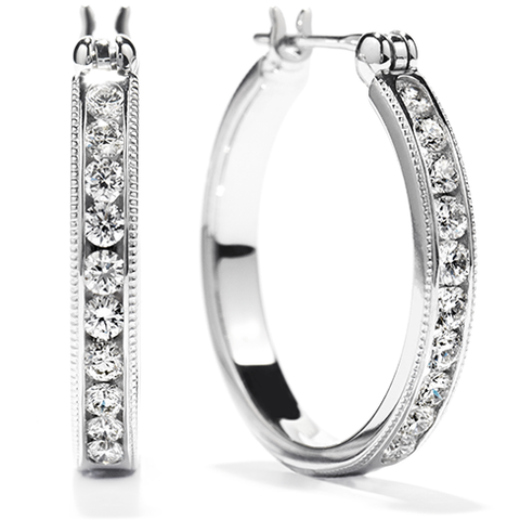 Hearts On Fire Milgrain Diamond Hoop Earrings