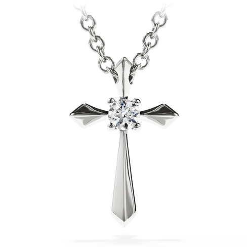 Hearts My 1st Single Diamond Cross Pendant Necklace