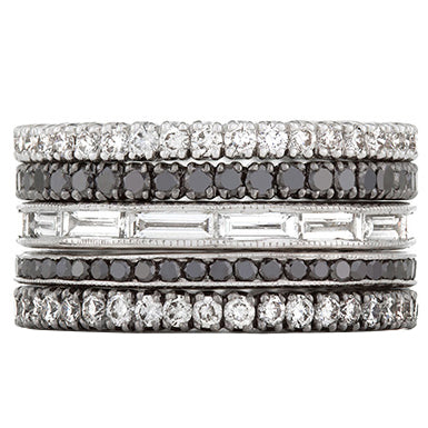 Sethi Couture Black and White Diamond Stack Ring Set