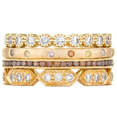 Sethi Couture Golden Treasure Diamond Stack Ring Set
