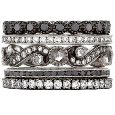 Sethi Couture Vetruvian Scroll Diamond Stack Ring Set