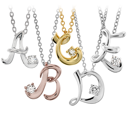 Hearts On Fire Script Initial Pendant Necklaces