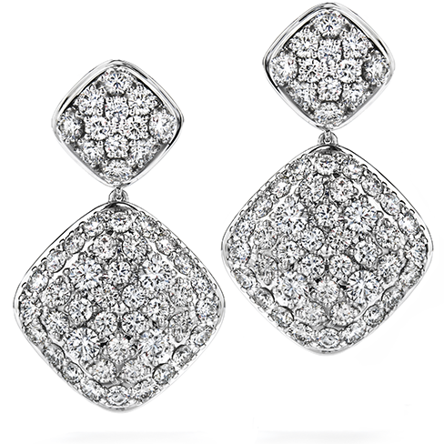 Hearts On Fire Silk Pave Double Diamond Shape Drop Earrings