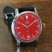 "SUF Helsinki ""180"" C 38.7mm Red dial Ltd Edition Field watch on strap"