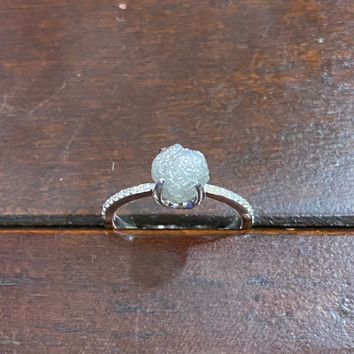 Passion Collection 18K WG Rough Diamond crystal ring