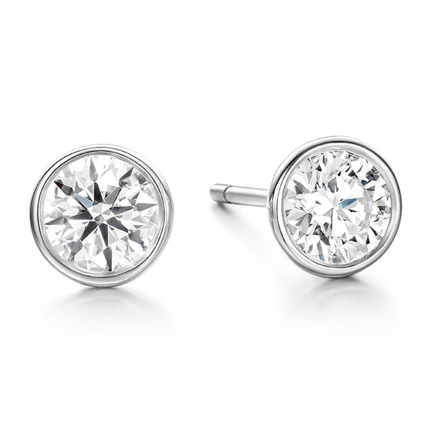 Hearts On Fire Classic Bezel Stud Diamond Earrings